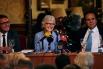 Jacint Soler Padró (President FCSC), Muriel Casals (Presidenta Òmnium Cultural) i David Escamilla (Vice-president FCSC). 18 de novembre 2014, Cercle del Liceu, Barcelona