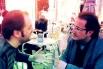 Francesc Miralles i David Escamilla, dos amigos en una plaza de Gracia. Primavera 2013