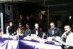 Librería 22 (Girona). El librero Guillem Terribas y los escritores Martí Gironell, David Escamilla, Xavier Bosch y Carles Porta (sábado 21 de abril 2012)