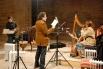 Grabando el disco de Arianna Savall ''Peiwoh'' en el Castillo de Cardona. David Escamilla (letra) y Arianna Savall (canto y arpa). Cardona, febrero, 2008