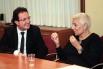 Rosa Oriol (fundadora y propietaria de la marca internacional de joyas Tous) con David Escamilla, en Pimec. 2013