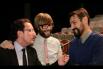 Dialogando con Òscar Dalmau y Òscar Andreu antes de otorgar los ''Premios Salvador Escamilla''. Barcelona, 13 de Febrero 2014, Día Mundial de la Radio